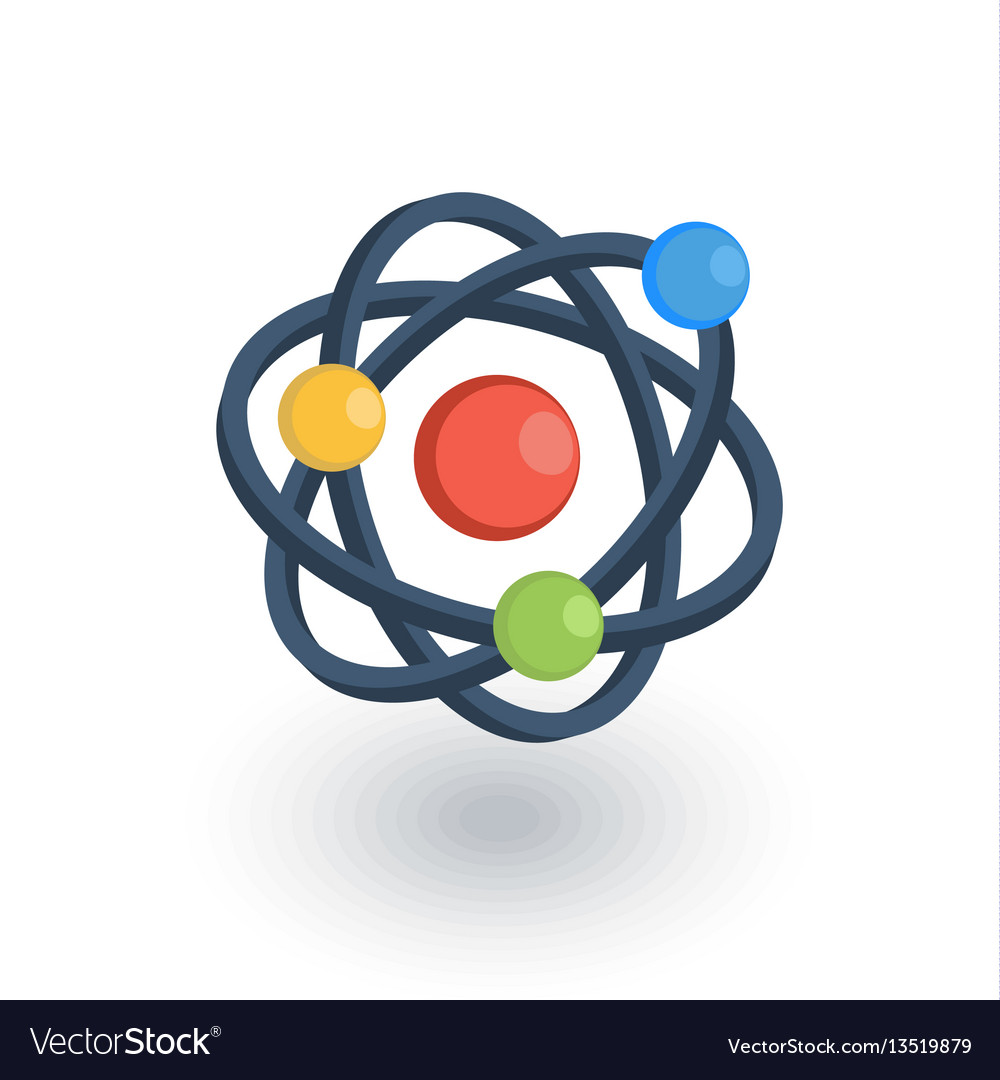 Atom physic symbol isometric flat icon 3d vector image