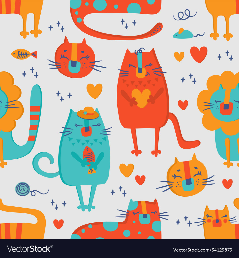 Cat circus hand drawn seamless pattern vector