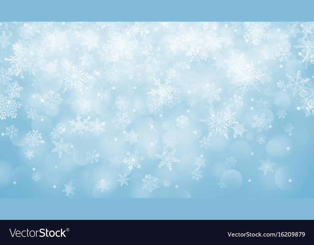 Christmas background of snowflakes with bokeh