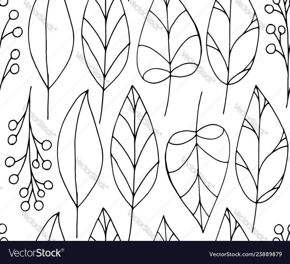 Doodle seamless pattern with leaves on white