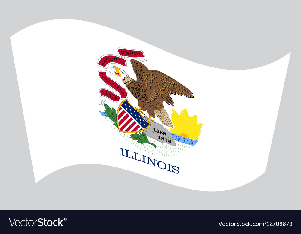 Flag of Illinois waving on gray background
