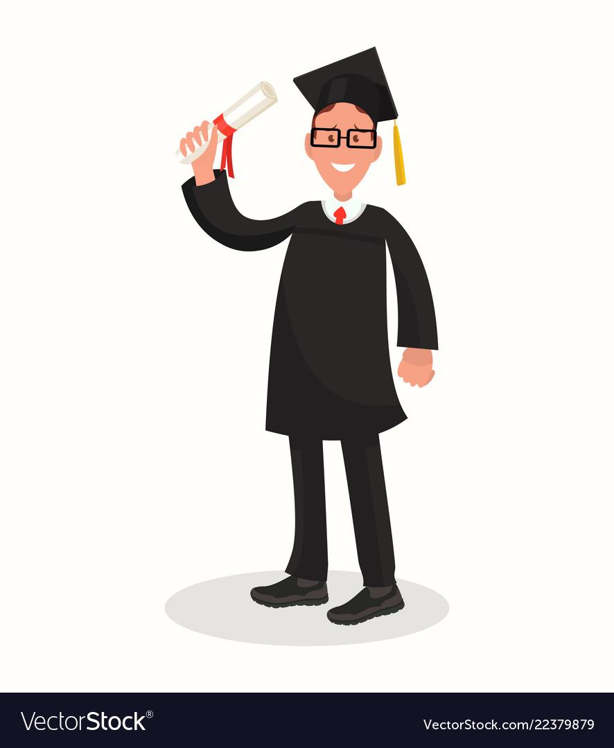 Happy guy university graduate in black gown