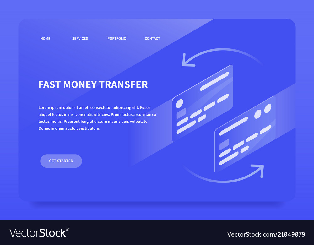 Isometric money transfer landing page