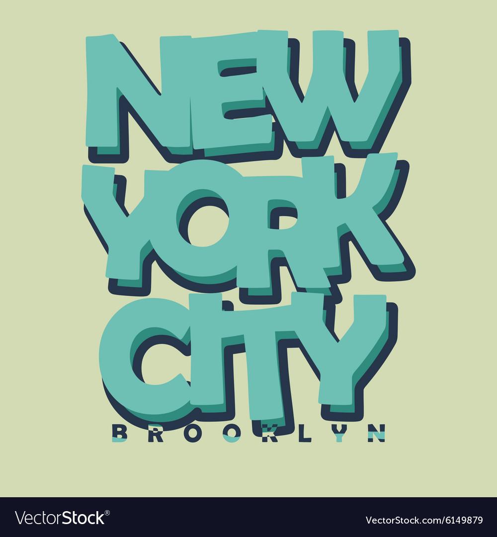 New York City Typography T-shirt Printing Design vector image
