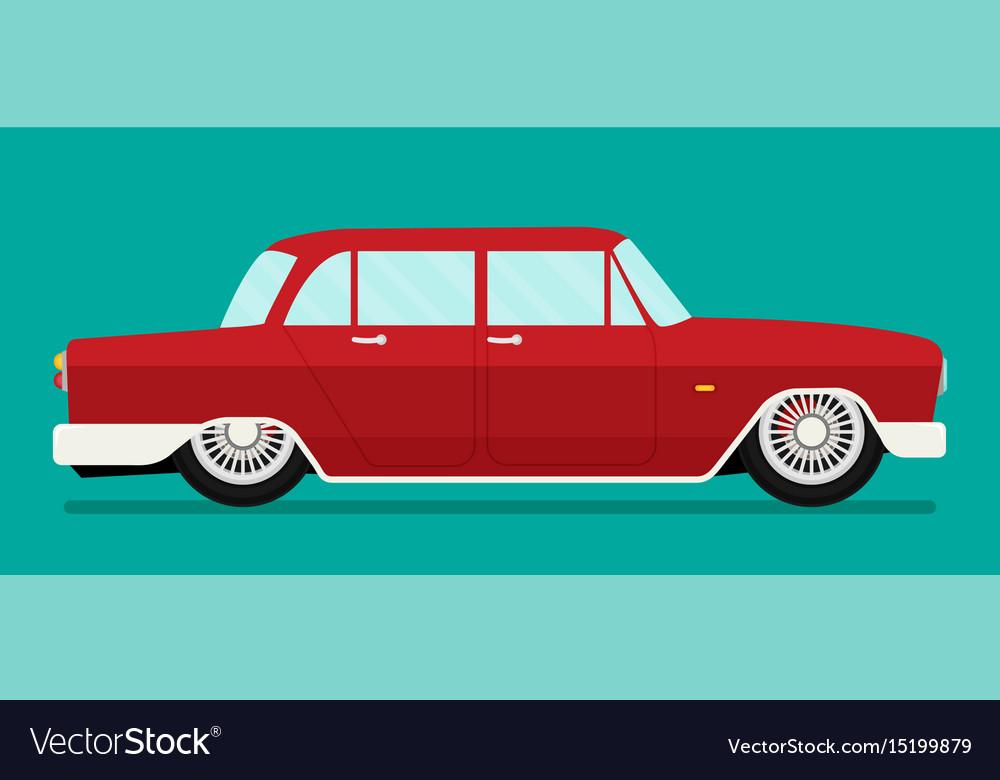 Old school car flat Royalty Free Vector Image - VectorStock