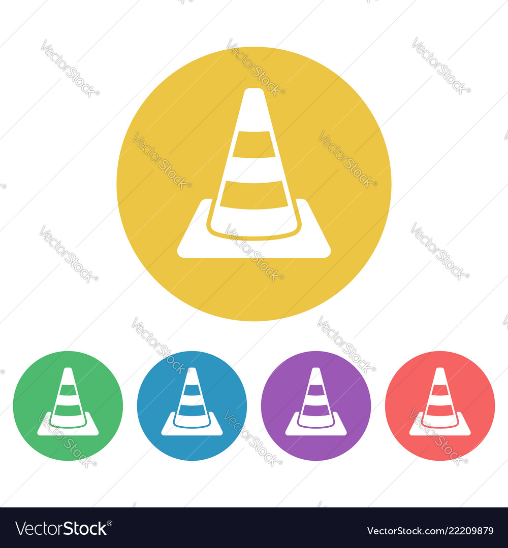 Road cone set of colored round icons