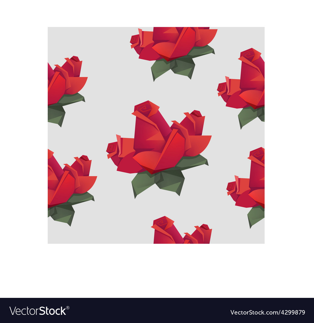 Seamless pattern with origami red roses