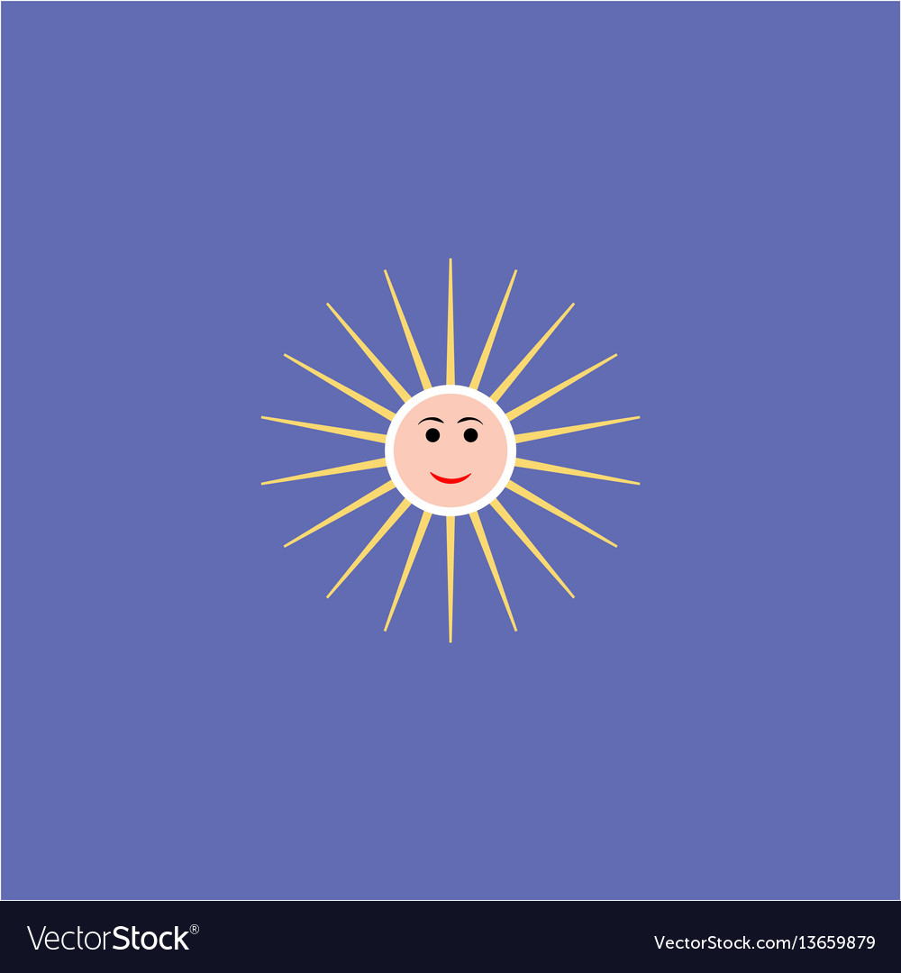 The sun sign on blue background vector image