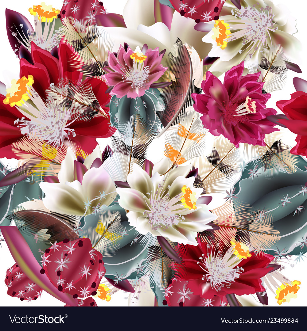 Background with realistic cactus flowers