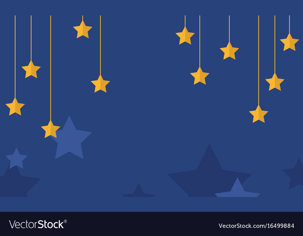 Blue background with yellow star collection vector image