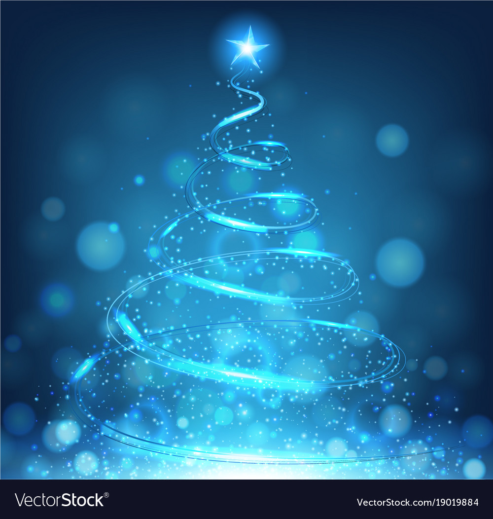 Blue Christmas Tree On Bright Background Vector Image