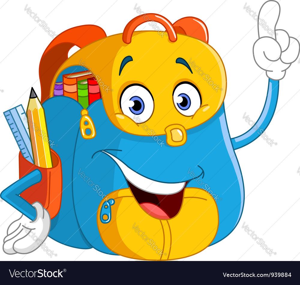 cartoon backpack royalty free vector image vectorstock rh vectorstock com vector cartoon mermaid vector cartoon fish