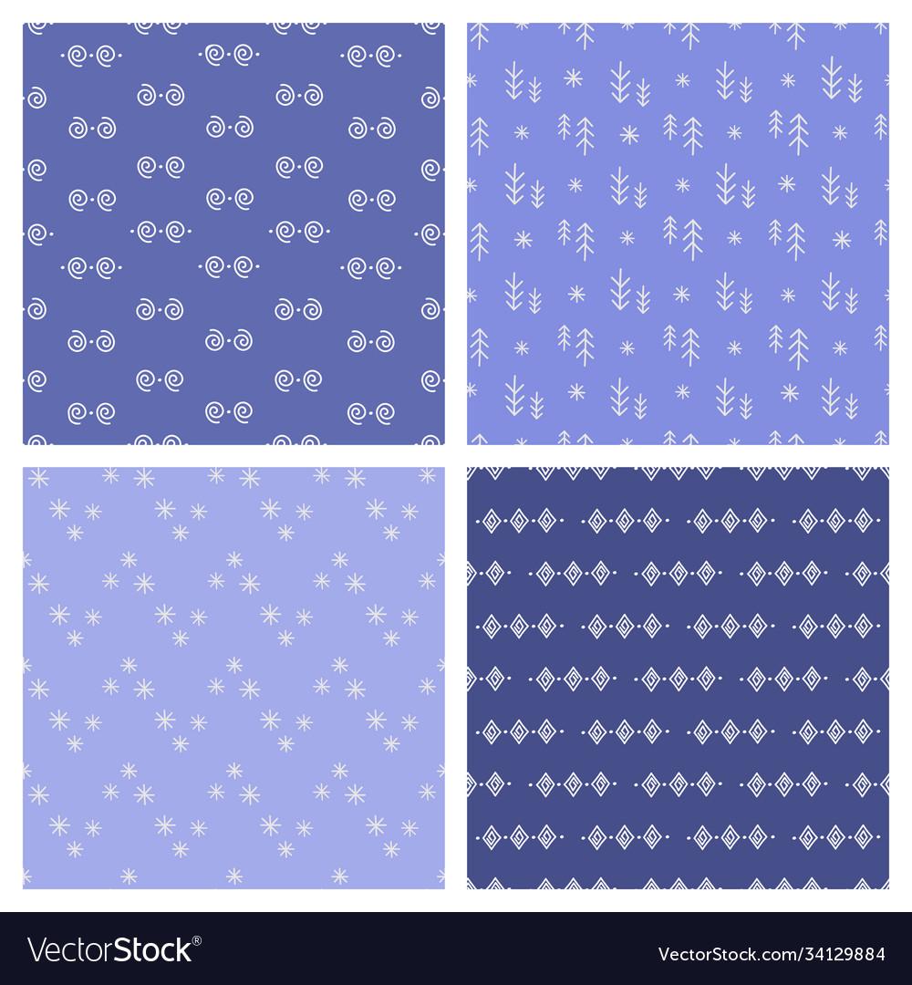 Eskimo set winter seamless pattern