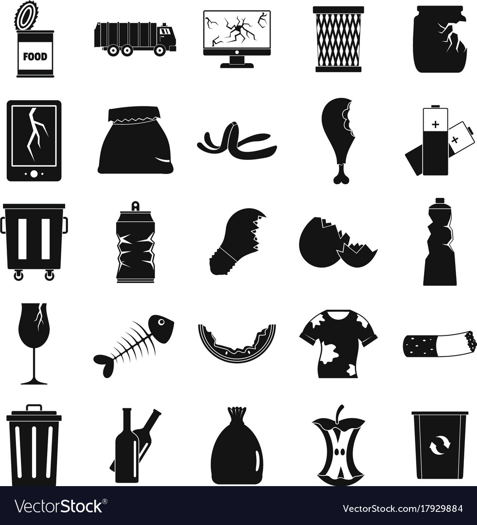 Garbage icons set silhouette style vector image