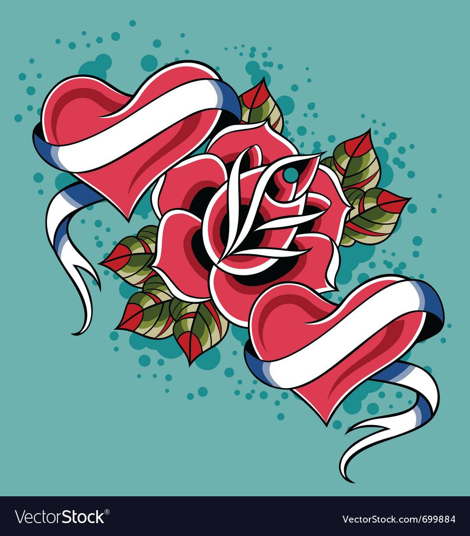 Heart Rose Tattoo Royalty Free Vector Image Vectorstock