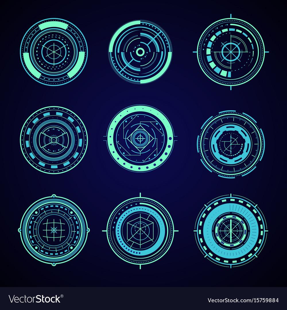 Hud interface futuristic graphic elements set