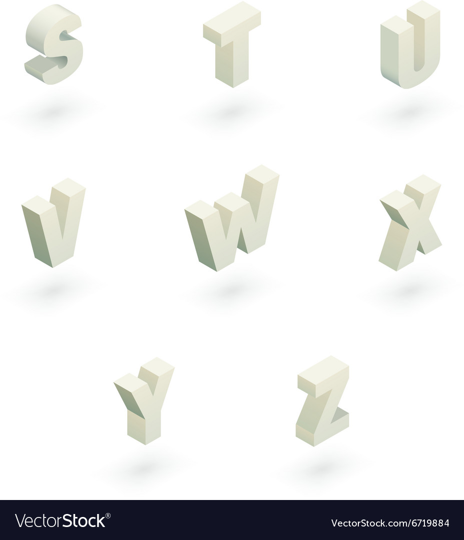 Isometric letters s to z