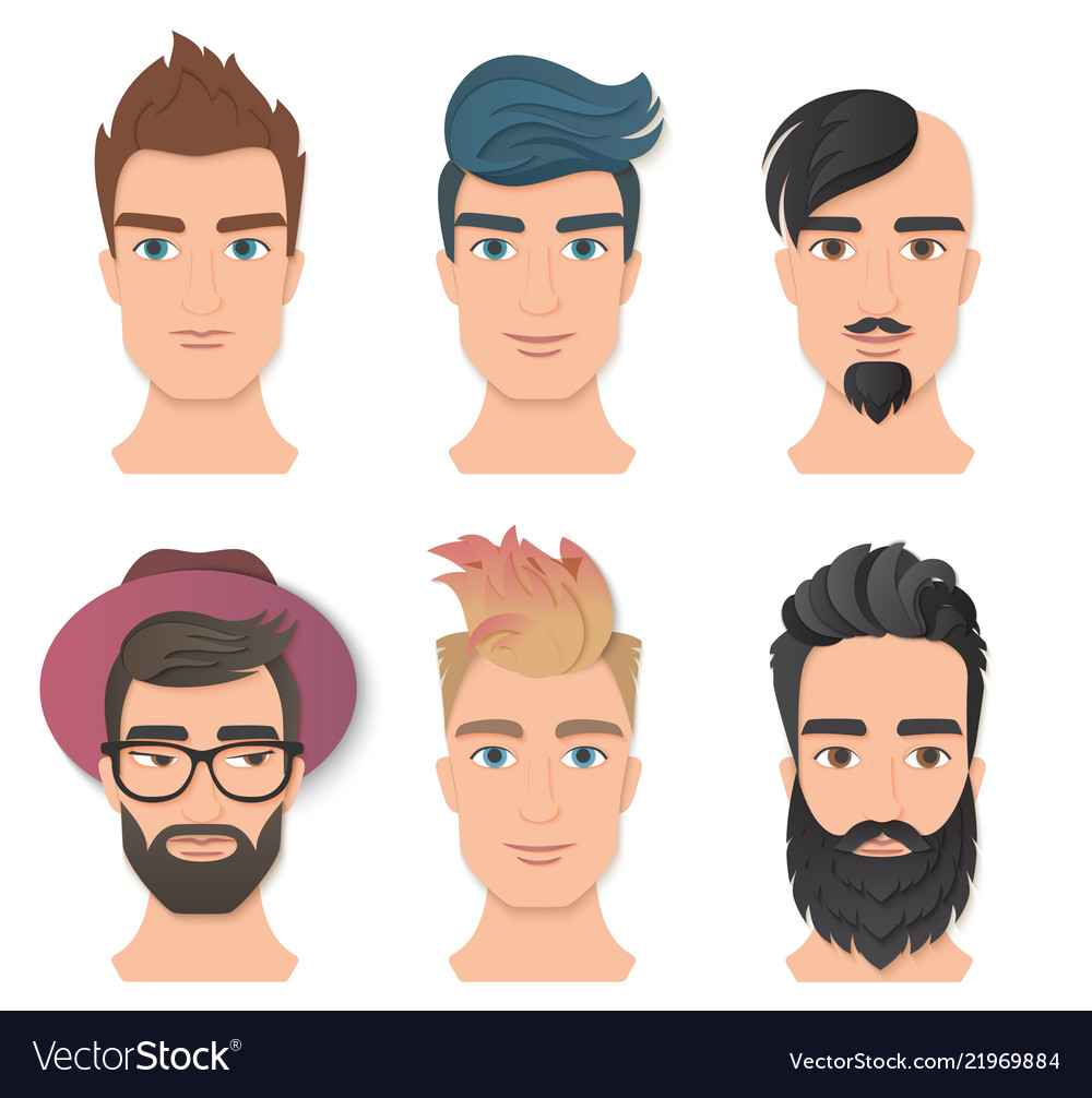 Male portrait avatar face set