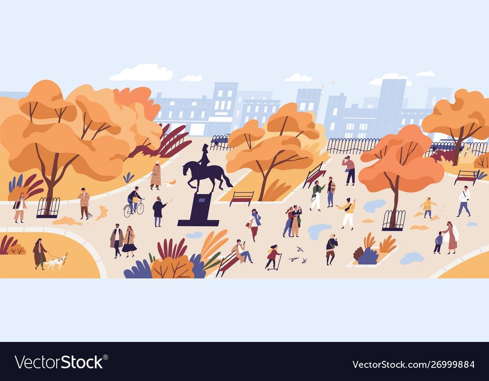 People walking in autumn park flat