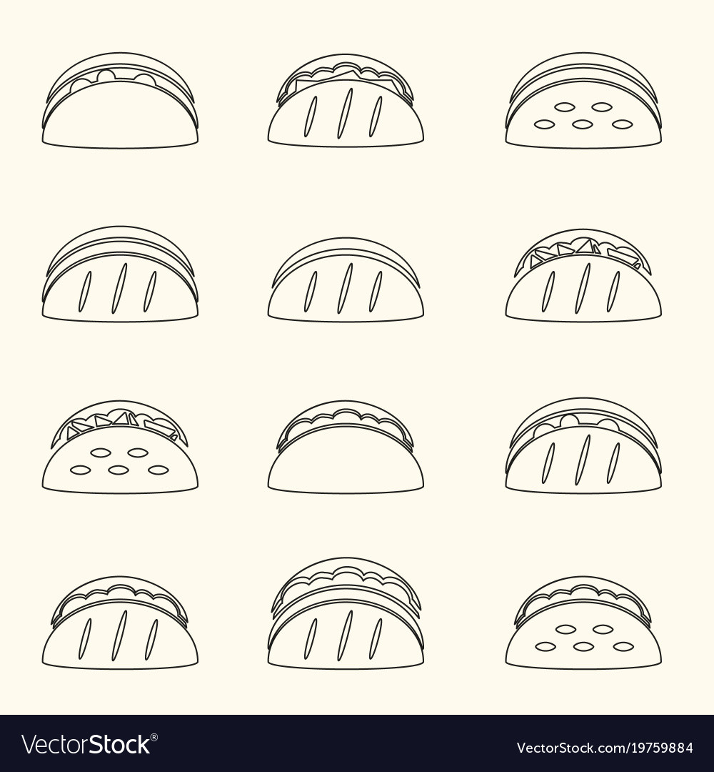 Set of outline tortilla tacos food icons set eps10