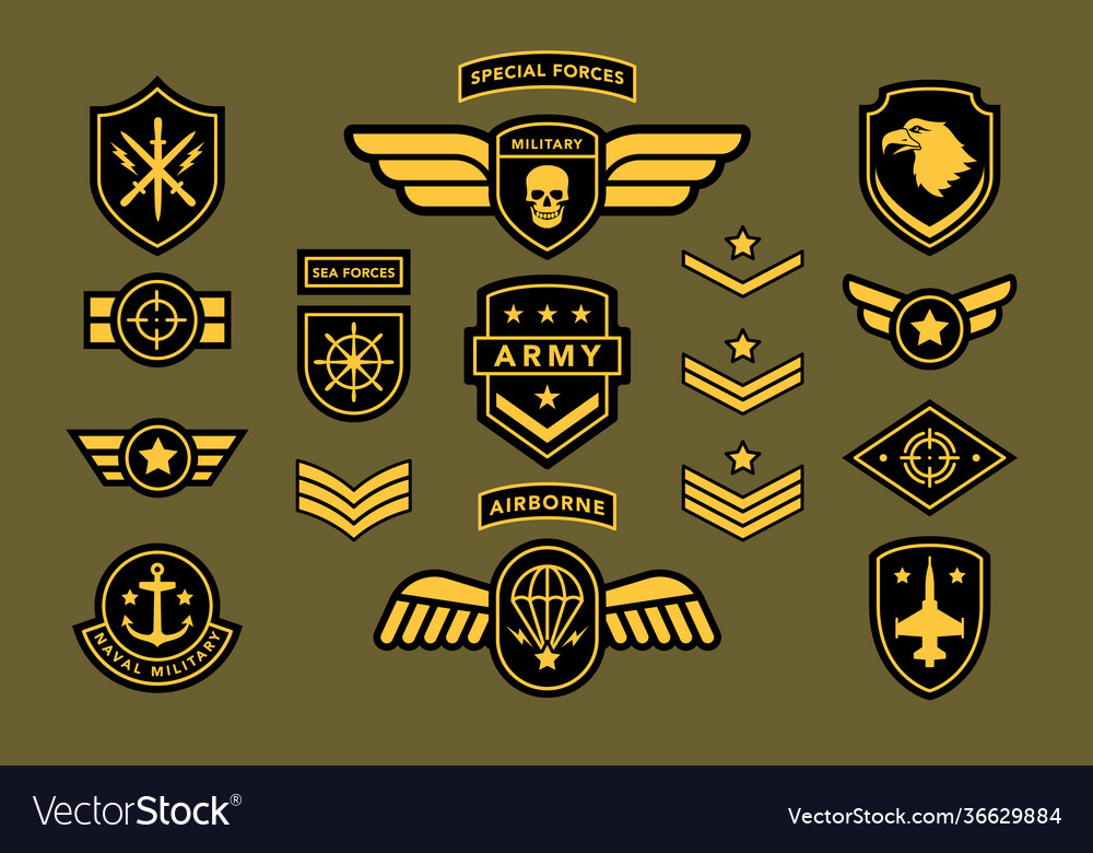 Special force army insignia label set isolated on