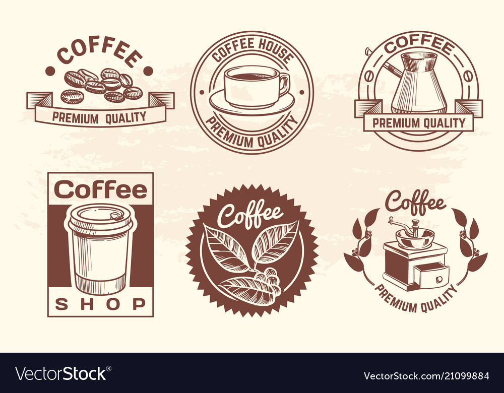 Vintage hand drawn hot drinks coffee logos with