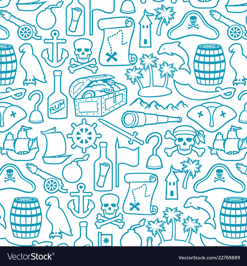 Background pattern with pirates icons