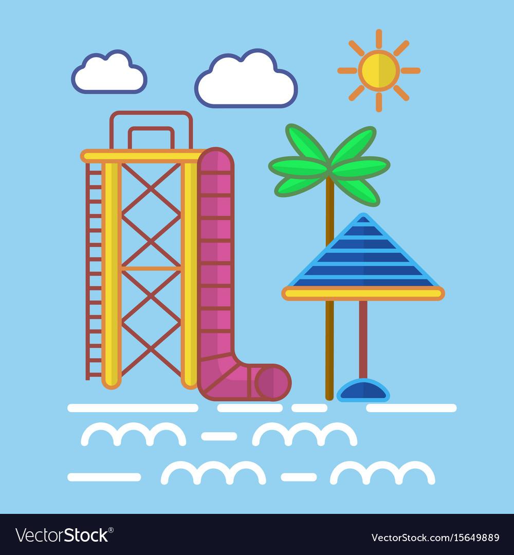 Big water slide sun umbrella and tall palm on