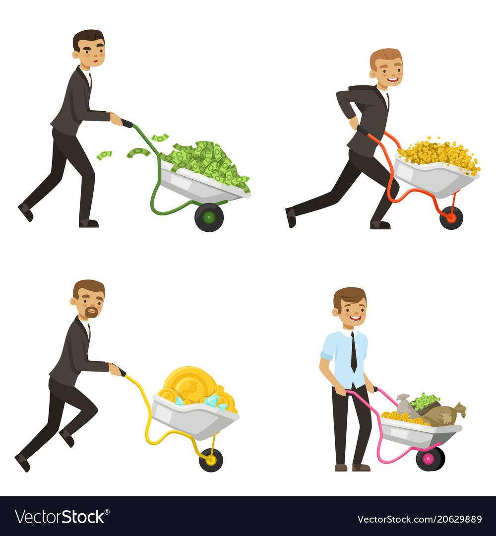 Businessmen driving a wheelbarrow with money