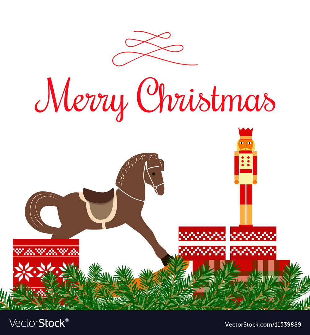 Christmas Greetings With Toys And Gifts Royalty Free Vector