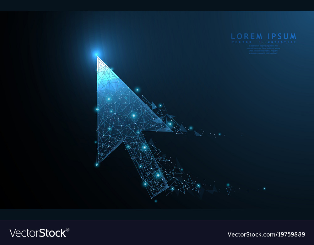 Cursor arrow polygonal wireframe mesh art with vector image