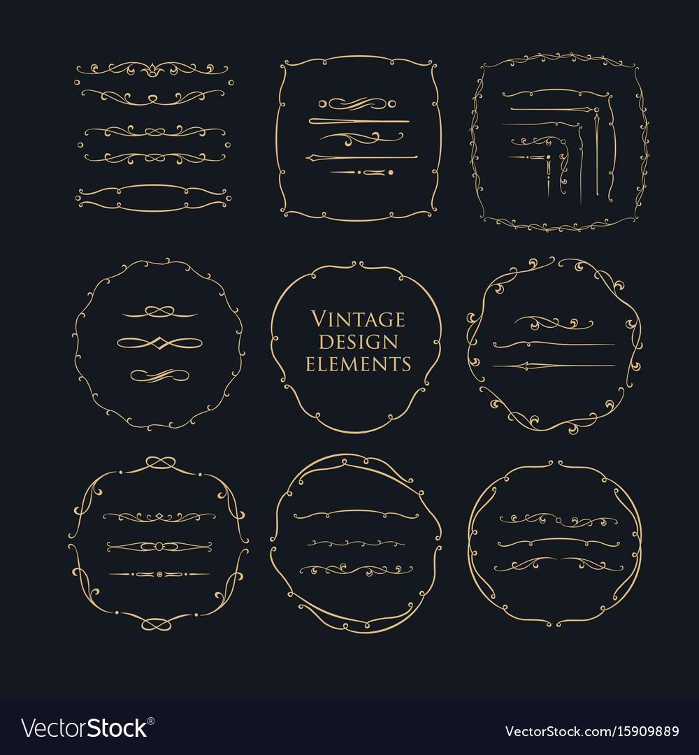 Decorative circle frames set vintage book vector image