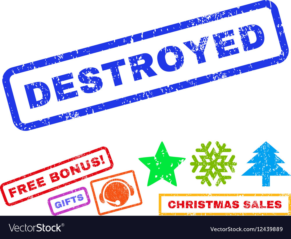 Destroyed Rubber Stamp vector image