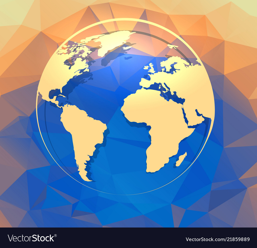 Earth globe on polygonal abstract background