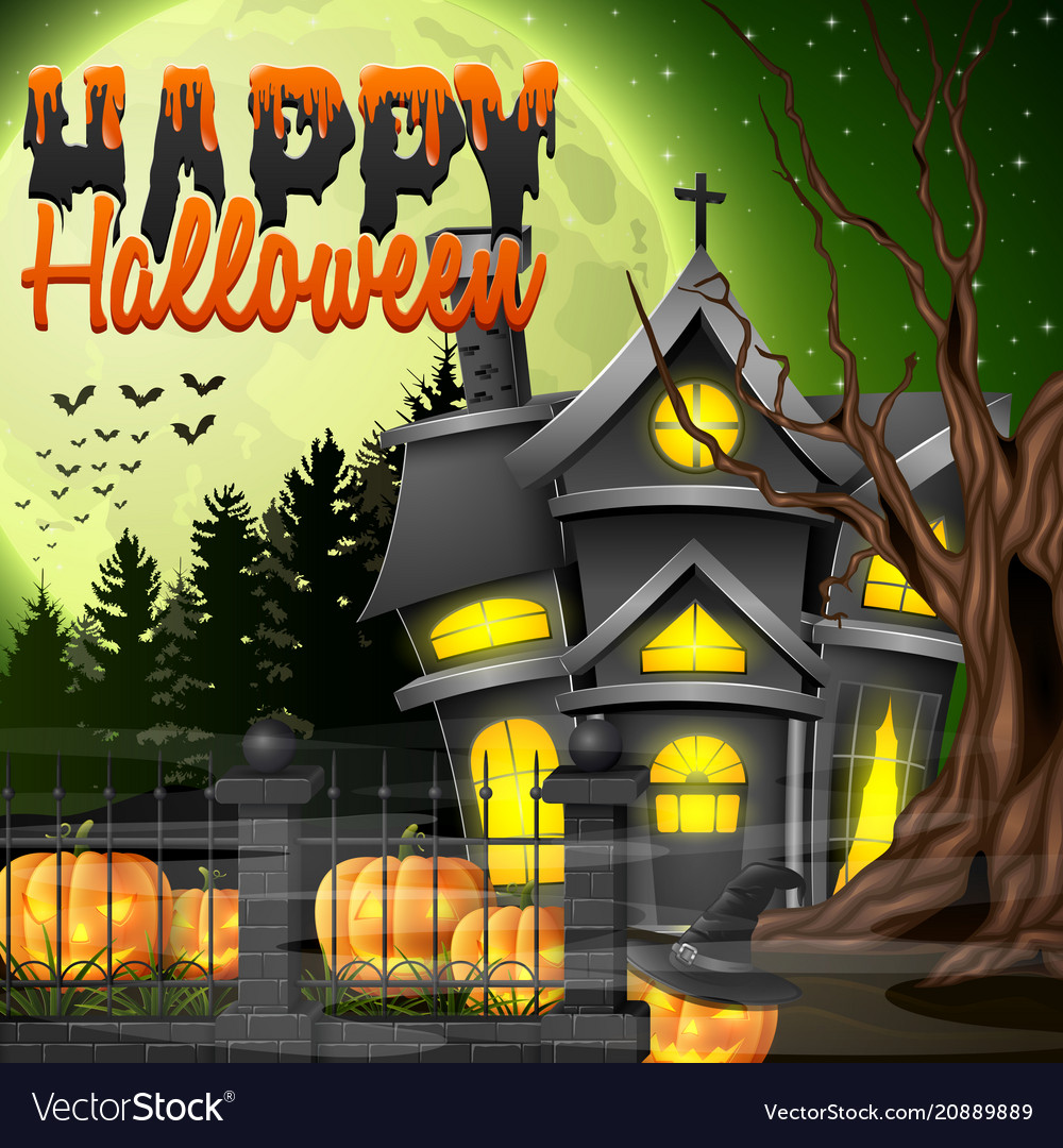 halloween night with church and scary pumpkins vector image