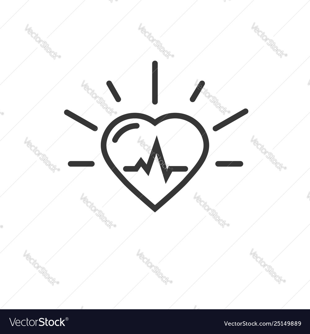 Healthy heart beating icon line outline