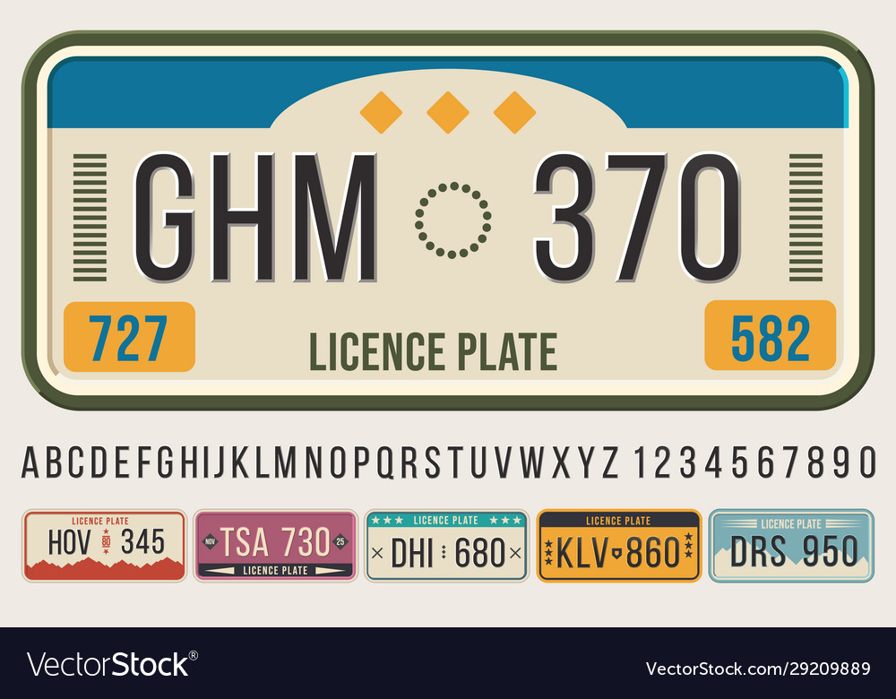 License car plates font embossed font letters and