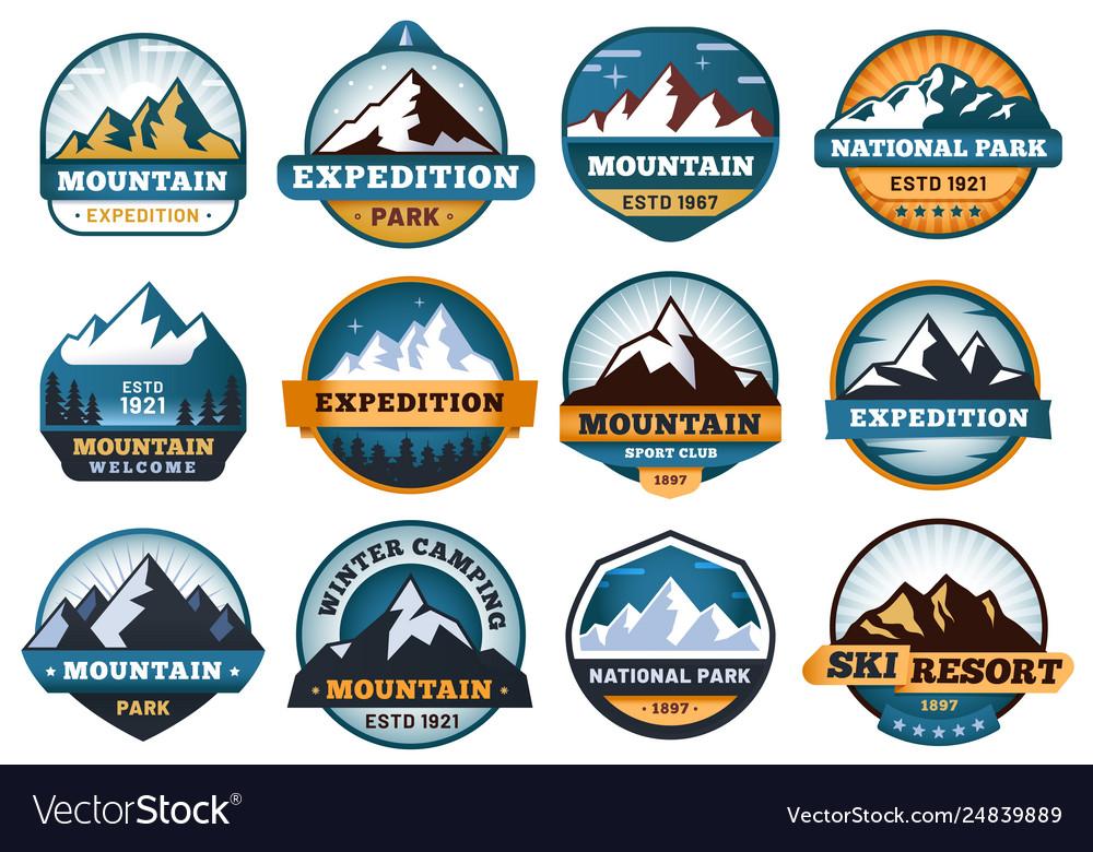 Mountain labels hiking emblems mountains emblem