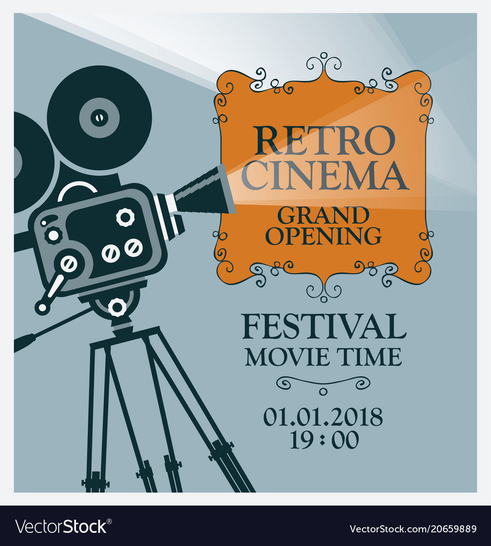 Movie Festival Poster With Old Camera Vector Image