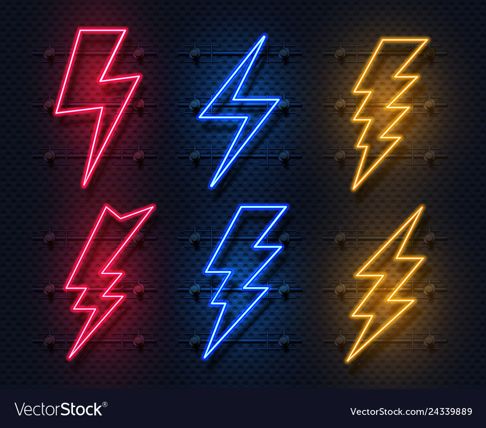 Neon lightning bolt glowing electric flash sign