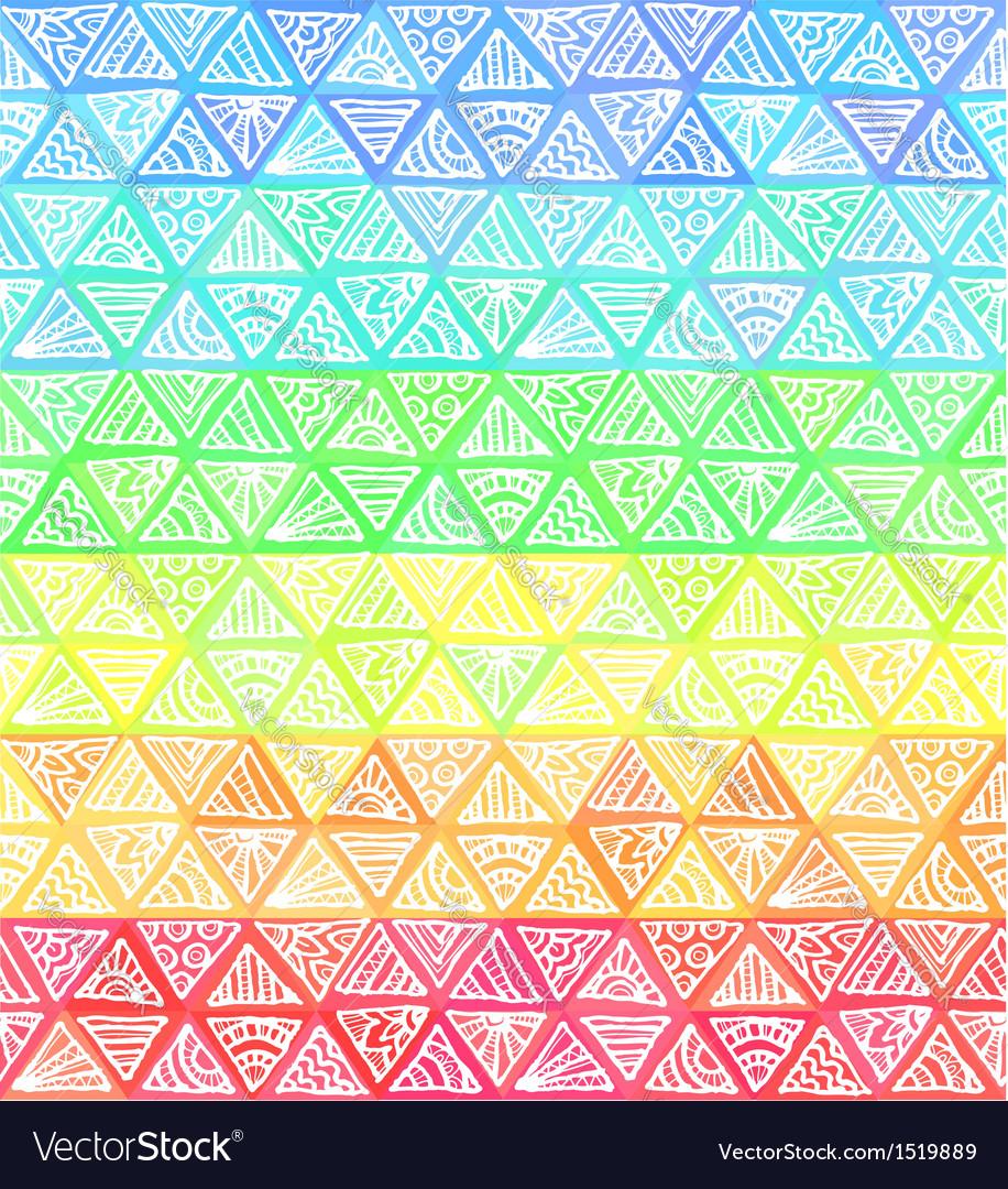 Ornate hand-drawn rainbow triangles