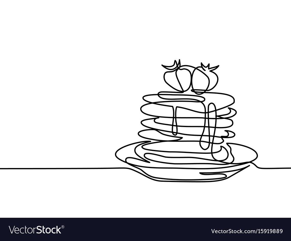 Pancakes with strawberry jam on the plate