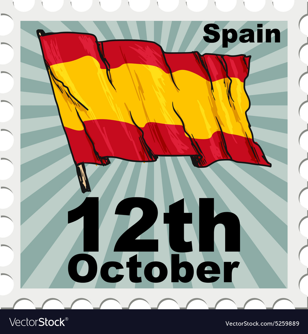 Post stamp of national day of Spain