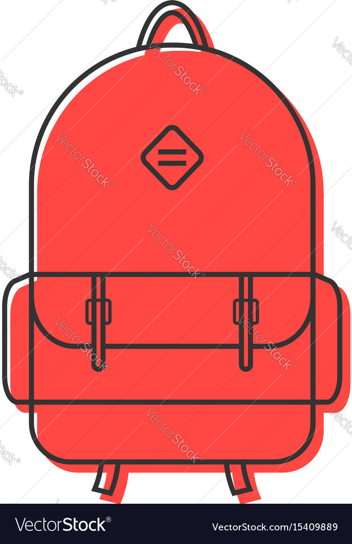 Red backpack thin line icon