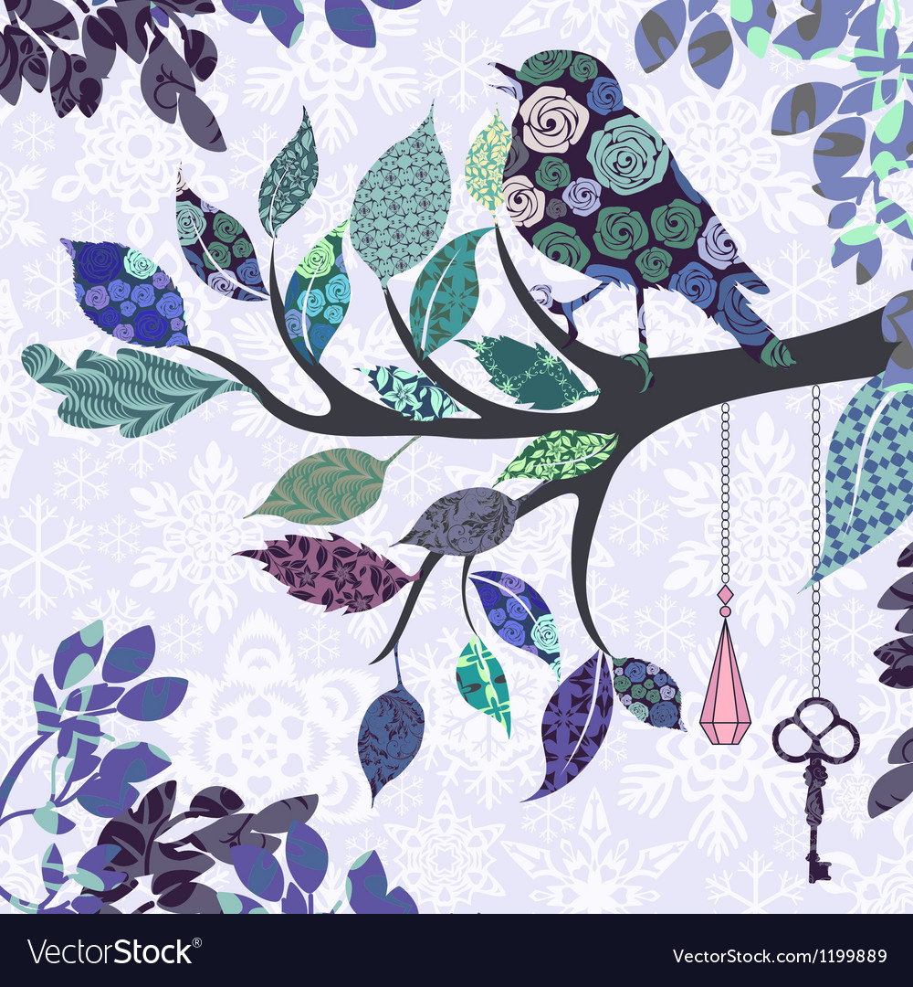 Retro background of tree branch with leaves and