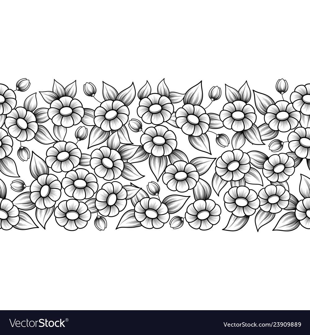 Seamless black full floral brush