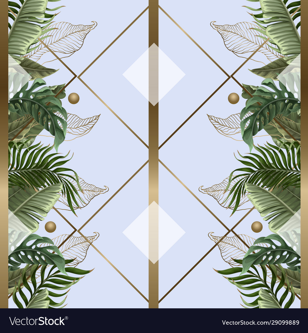 Seamless pattern with tropical leaves gold and