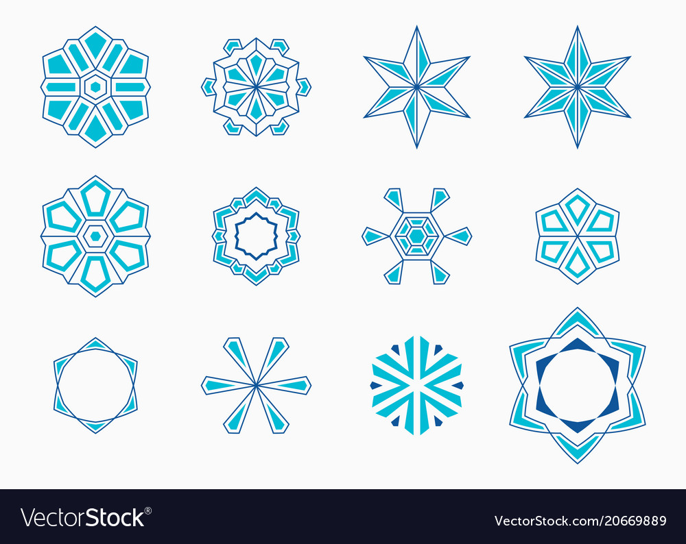 Set of abstract symmetric geometric shapes