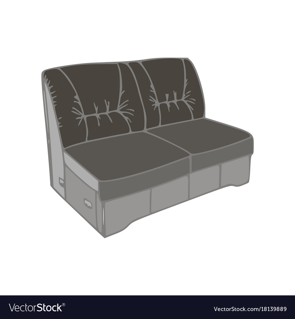 Sofa Black Furniture Isolated Modern Comfort Flat