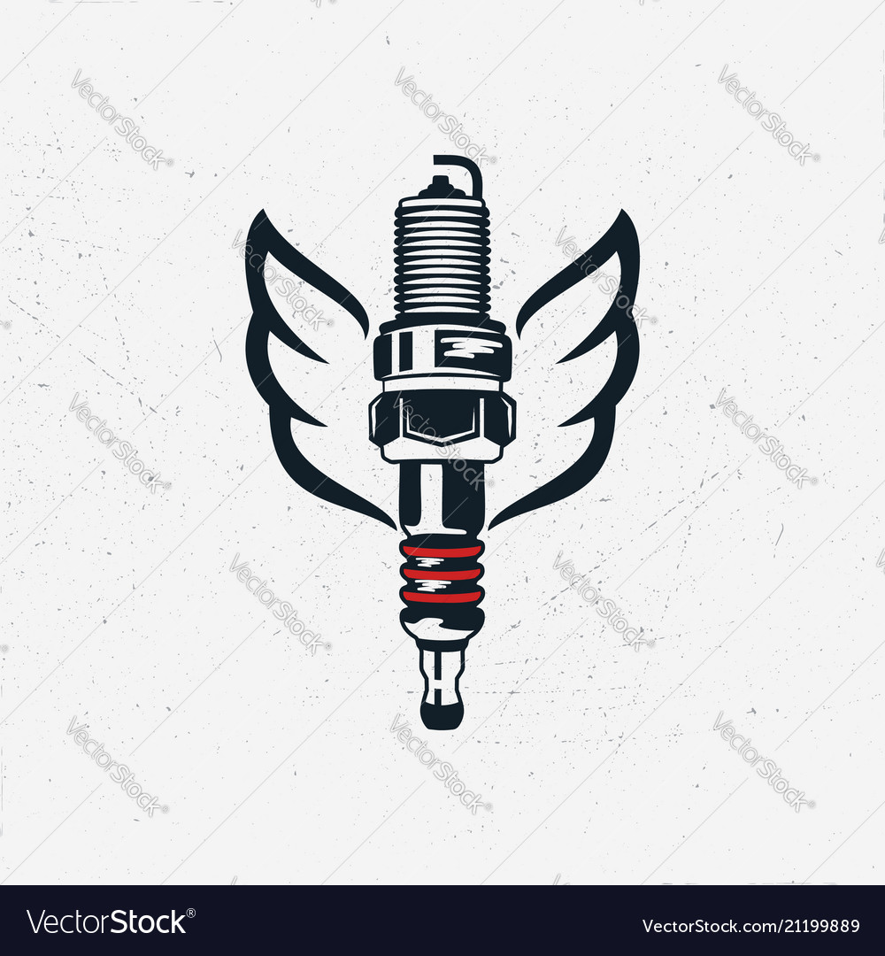 Spark plug with wings vintage hand drawn
